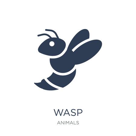 Wespe-Symbol. Trendiges flaches Vektorwespensymbol auf weißem Hintergrund aus der Tiersammlung, Vektorillustration kann für Web und Mobile verwendet werden, eps10