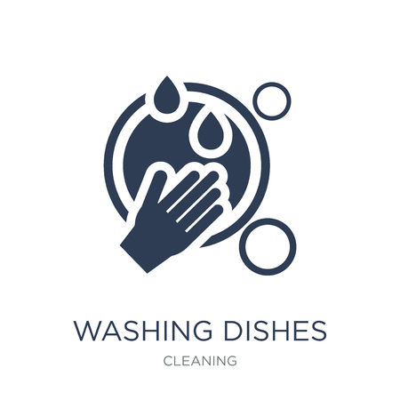 Washing dishes icon. Trendy flat vector Washing dishes icon on white background from Cleaning collection, vector illustration can be use for web and mobile, eps10