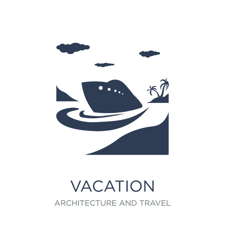Vacation icon. Trendy flat vector Vacation icon on white background from Architecture and Travel collection, vector illustration can be use for web and mobile, eps10 Illustration