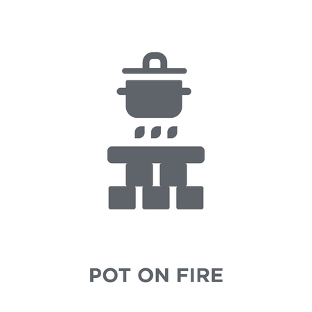 Pot on fire icon. Pot on fire design concept from Camping collection. Simple element vector illustration on white background.
