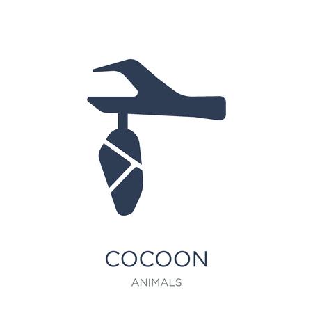 Kokon-Symbol. Trendiges flaches Vektor-Kokon-Symbol auf weißem Hintergrund aus der Tiersammlung, Vektorillustration kann für Web und Mobile verwendet werden, eps10