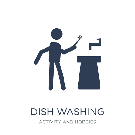 Dish Washing icon. Trendy flat vector Dish Washing icon on white background from Activity and Hobbies collection, vector illustration can be use for web and mobile, eps10