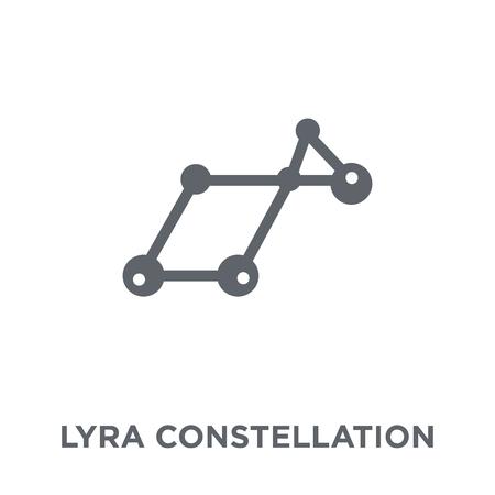 Icono de la constelación de Lyra. Concepto de diseño de la constelación de Lyra de colección de Astronomía. Ilustración de vector de elemento simple sobre fondo blanco. Ilustración de vector
