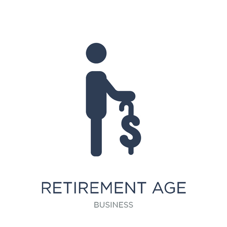 Retirement age icon. Trendy flat vector Retirement age icon on white background from business collection, vector illustration can be use for web and mobile, eps10