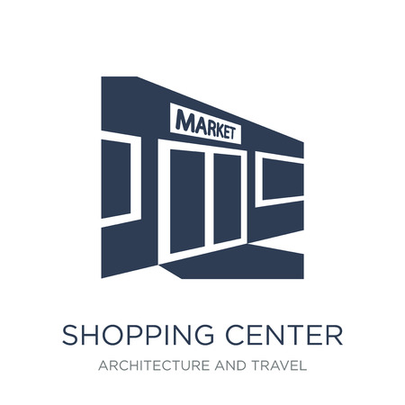 Shopping center icon. Trendy flat vector Shopping center icon on white background from Architecture and Travel collection, vector illustration can be use for web and mobile, eps10  イラスト・ベクター素材