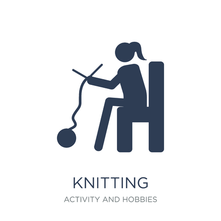 Knitting icon. Trendy flat vector Knitting icon on white background from Activity and Hobbies collection, vector illustration can be use for web and mobile, eps10