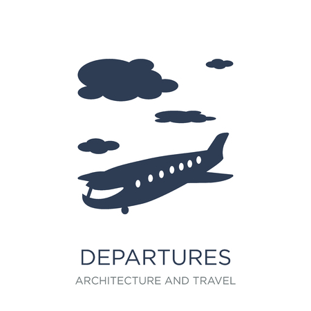 Departures icon. Trendy flat vector Departures icon on white background from Architecture and Travel collection, vector illustration can be use for web and mobile, eps10 Stock Illustratie