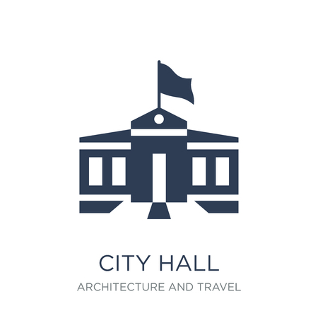 City hall icon. Trendy flat vector City hall icon on white background from Architecture and Travel collection, vector illustration can be use for web and mobile, eps10