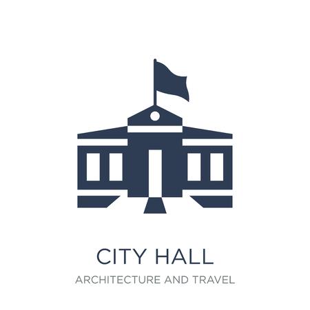 Icône de l'hôtel de ville. Icône de mairie vecteur plat sur fond blanc de la collection Architecture et voyage, illustration vectorielle peut être utilisé pour le web et mobile, eps10