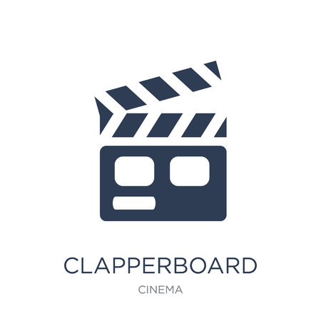 Clapperboard icon. Trendy flat vector Clapperboard icon on white background from Cinema collection, vector illustration can be use for web and mobile, eps10