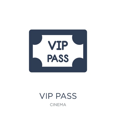Vip pass icon. Trendy flat vector Vip pass icon on white background from Cinema collection, vector illustration can be use for web and mobile, eps10  イラスト・ベクター素材