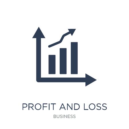 Icona del conto profitti e perdite. Icona di conto profitti e perdite piatto vettoriale su priorità bassa bianca da collezione di affari, illustrazione vettoriale può essere utilizzato per il web e mobile, eps10