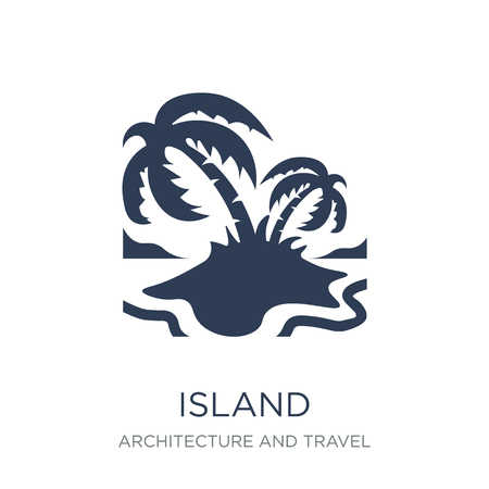 Island icon. Trendy flat vector Island icon on white background from Architecture and Travel collection, vector illustration can be use for web and mobile, eps10