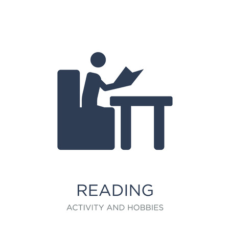 Reading icon. Trendy flat vector Reading icon on white background from Activity and Hobbies collection, vector illustration can be use for web and mobile, eps10 Stock Vector - 111999402