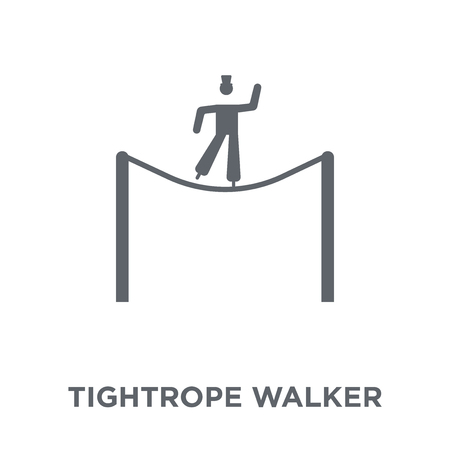Tightrope walker icon. Tightrope walker design concept from Circus collection. Simple element vector illustration on white background. Banco de Imagens - 111999408