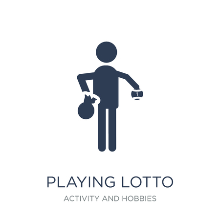 Playing Lotto icon. Trendy flat vector Playing Lotto icon on white background from Activity and Hobbies collection, vector illustration can be use for web and mobile, eps10 Çizim