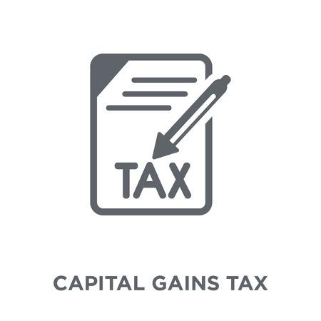 Symbol für Kapitalertragsteuer. Entwurfskonzept der Kapitalertragsteuer aus der Erhebung der Kapitalertragsteuer Einfache Elementvektorillustration auf weißem Hintergrund.