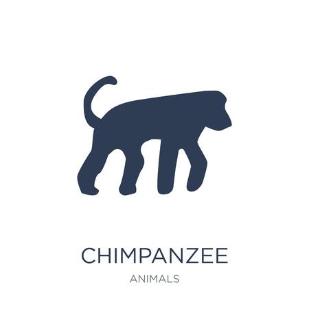 icono de chimpancé. Icono de chimpancé de moda vector plano sobre fondo blanco de colección de animales, Ilustración de vectores se puede utilizar para web y móvil, eps10 Ilustración de vector