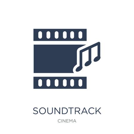 Soundtrack-Symbol. Trendiges flaches Vektor-Soundtrack-Symbol auf weißem Hintergrund aus der Cinema-Sammlung, Vektorillustration kann für Web und Mobile verwendet werden, eps10