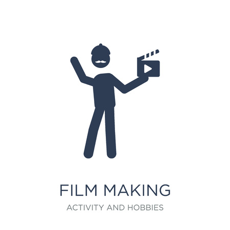 Film making icon. Trendy flat vector Film making icon on white background from Activity and Hobbies collection, vector illustration can be use for web and mobile, eps10 Foto de archivo - 111999465
