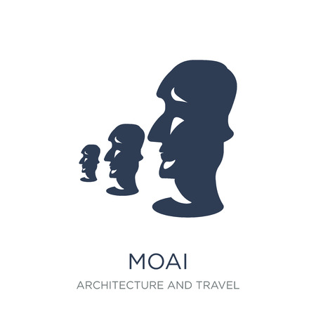 Moai icon. Trendy flat vector Moai icon on white background from Architecture and Travel collection, vector illustration can be use for web and mobile, eps10 Foto de archivo - 111939965