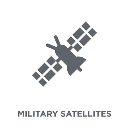 Symbol für Militärsatelliten. Designkonzept für Militärsatelliten aus der Armeesammlung. Einfache Elementvektorillustration auf weißem Hintergrund.