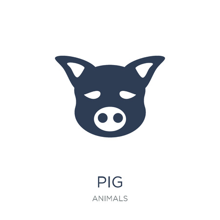 Pig icon. Trendy flat vector Pig icon on white background from animals collection, vector illustration can be use for web and mobile, eps10 Illustration