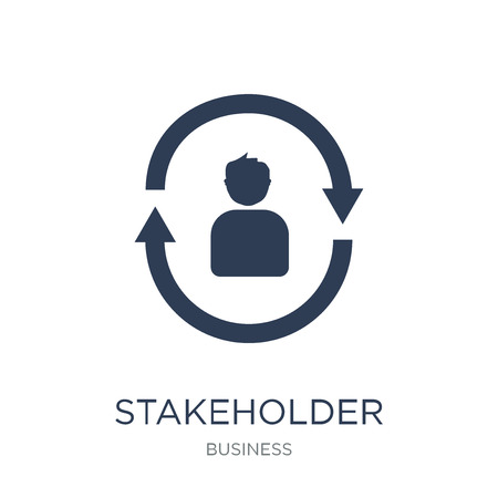 Stakeholder pensions icon. Trendy flat vector Stakeholder pensions icon on white background from business collection, vector illustration can be use for web and mobile, eps10