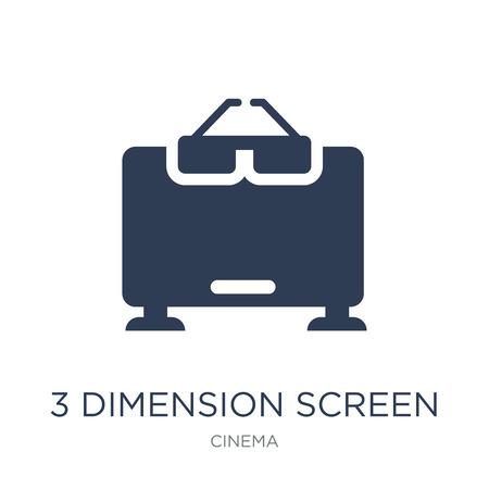 3 dimension screen icon. Trendy flat vector 3 dimension screen icon on white background from Cinema collection, vector illustration can be use for web and mobile, eps10 Ilustração