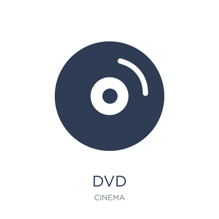 Dvd icon. Trendy flat vector Dvd icon on white background from Cinema collection, vector illustration can be use for web and mobile, eps10 Illustration