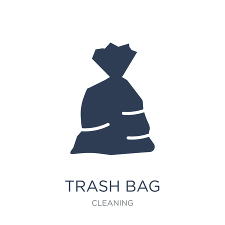 trash bag icon. Trendy flat vector trash bag icon on white background from Cleaning collection, vector illustration can be use for web and mobile, eps10