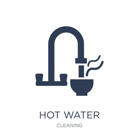 Hot water icon. Trendy flat vector Hot water icon on white background from Cleaning collection, vector illustration can be use for web and mobile, eps10 Ilustração