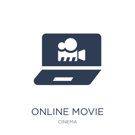 Online movie icon. Trendy flat vector Online movie icon on white background from Cinema collection, vector illustration can be use for web and mobile, eps10 Illustration