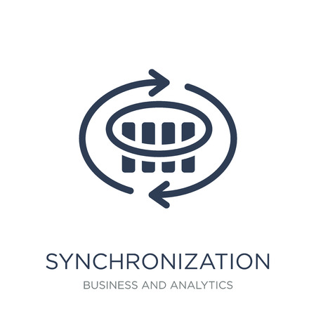 Synchronization icon. Trendy flat vector Synchronization icon on white background from Business and analytics collection, vector illustration can be use for web and mobile, eps10 Stockfoto - 112000767