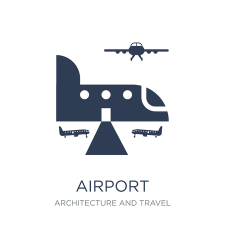 Airport icon. Trendy flat vector Airport icon on white background from Architecture and Travel collection, vector illustration can be use for web and mobile, eps10