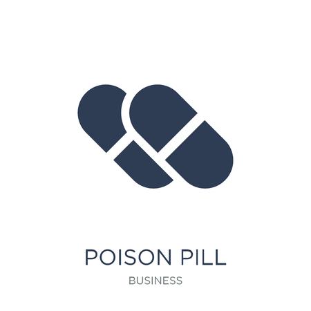 Icono de píldora venenosa. Icono de píldora venenosa de moda vector plano sobre fondo blanco de colección negocios, Ilustración de vectores se puede utilizar para web y móvil, eps10