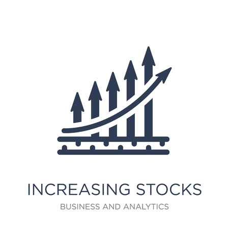 Trendy flat vector Increasing stocks icon on white background from Business and analytics collection, vector illustration can be use for web and mobile, eps10