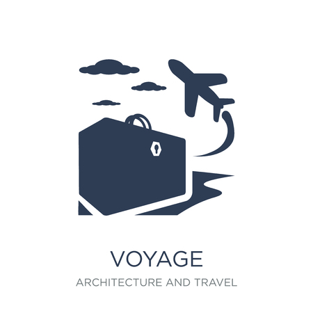 voyage icon. Trendy flat vector voyage icon on white background from Architecture and Travel collection, vector illustration can be use for web and mobile, eps10