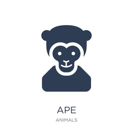 Icône de singe. Icône de singe vecteur plat sur fond blanc de la collection d'animaux, illustration vectorielle peut être utilisé pour le web et mobile, eps10