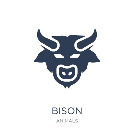 Bison icon. Trendy flat vector Bison icon on white background from animals collection, vector illustration can be use for web and mobile, eps10 Stok Fotoğraf - 112001013