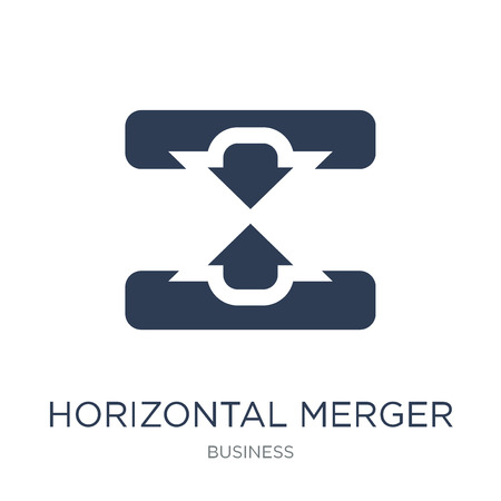 Horizontal merger icon. Trendy flat vector Horizontal merger icon on white background from Business collection, vector illustration can be use for web and mobile, eps10