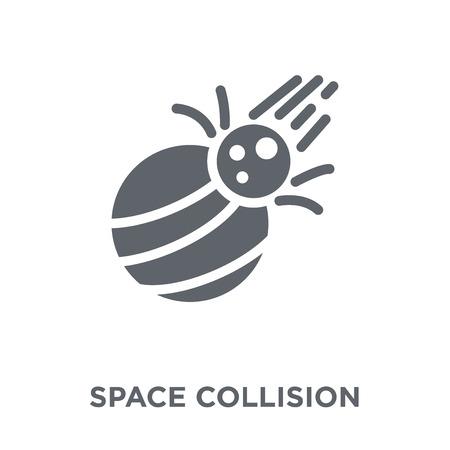 Icona di collisione spaziale. Concetto di design Space Collision da collezione di astronomia. Illustrazione vettoriale semplice elemento su sfondo bianco.