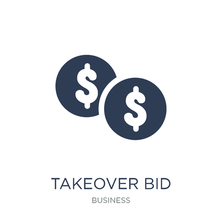 Takeover bid icon. Trendy flat vector Takeover bid icon on white background from business collection, vector illustration can be use for web and mobile, eps10