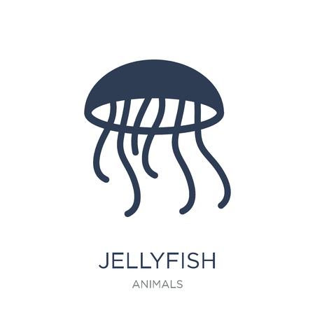 Ikona meduzy. Modny płaski wektor Meduza ikona na białym tle z kolekcji zwierząt, ilustracji wektorowych można użyć dla sieci web i mobile, eps10