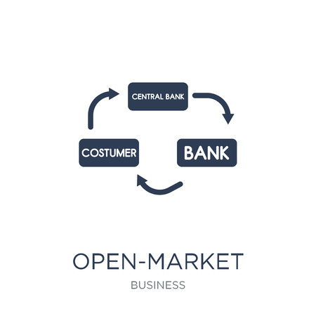 Open-market operations icon. Trendy flat vector Open-market operations icon on white background from Business collection, vector illustration can be use for web and mobile, eps10 Illustration