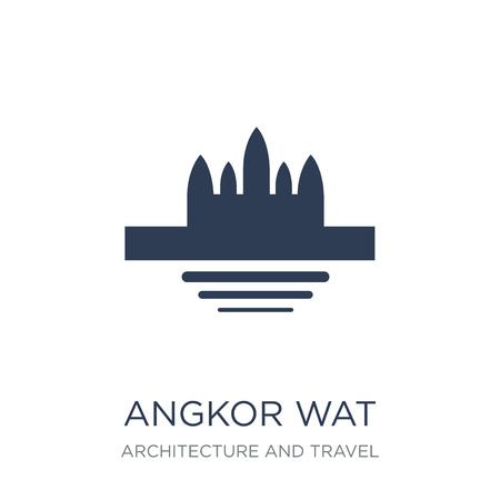 Icona di Angkor Wat. Icona di Angkor wat piatto vettoriale su priorità bassa bianca da collezione di architettura e viaggi, illustrazione vettoriale può essere utilizzato per il web e mobile, eps10 Vettoriali