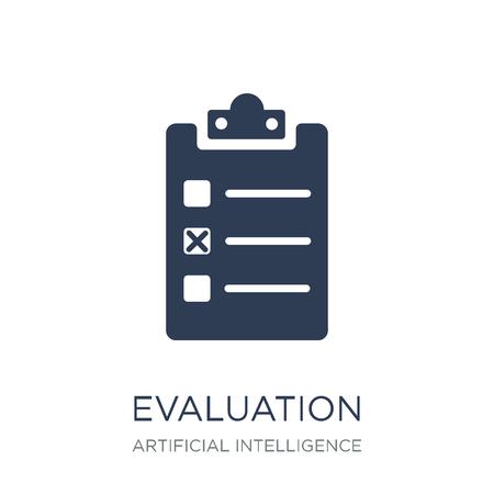 Icono de evaluación. Icono de evaluación de moda vector plano sobre fondo blanco de inteligencia artificial, colección de tecnología futura, Ilustración de vectores se puede utilizar para web y móvil, eps10