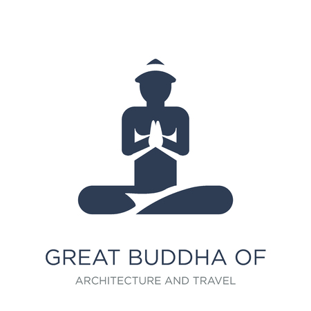 Great buddha of thailand icon. Trendy flat vector Great buddha of thailand icon on white background from Architecture and Travel collection, vector illustration can be use for web and mobile, eps10  イラスト・ベクター素材
