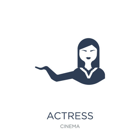 actress icon. Trendy flat vector actress icon on white background from Cinema collection, vector illustration can be use for web and mobile, eps10 Foto de archivo - 112001295