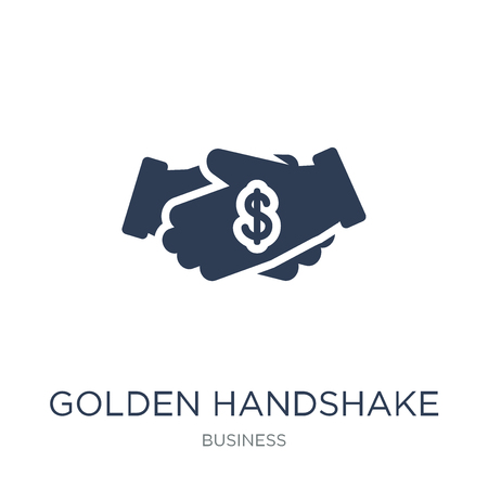 Golden handshake icon. Trendy flat vector Golden handshake icon on white background from Business collection, vector illustration can be use for web and mobile, eps10